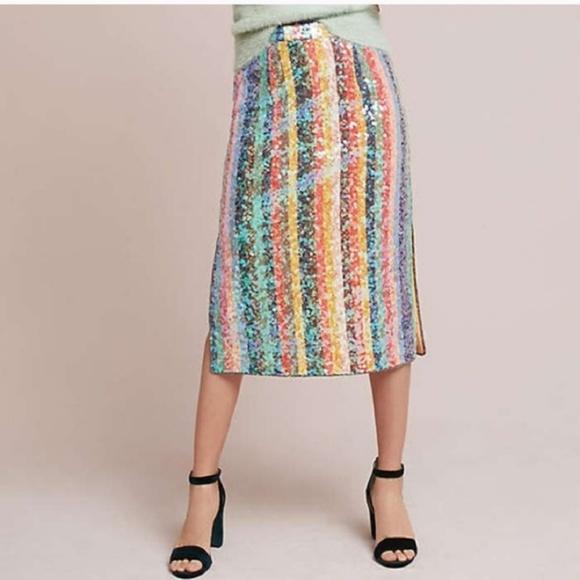 14d5fa5faa5 Anthropologie Skirts   Anthro Maeve Palette Sequin Stripe Midi Skirt ...